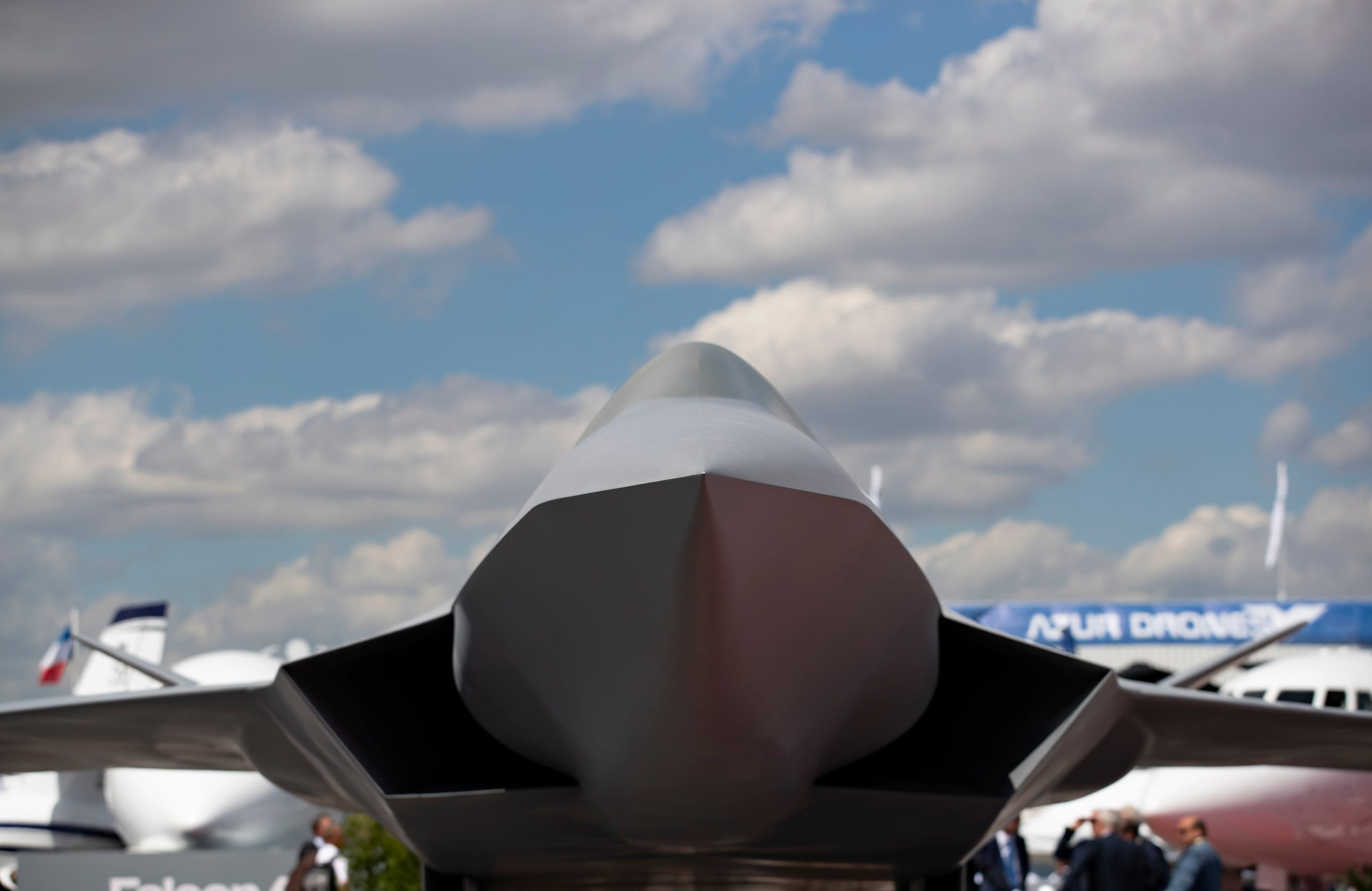 A scale model of the Dassault aviation Next Generation Fighter jet on display,June 17, 2019.