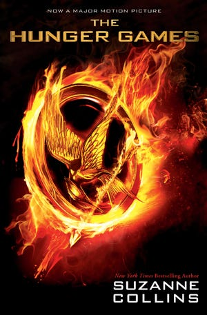 Movie tie-in book jacket of 'The Hunger Games' by Suzanne Collins