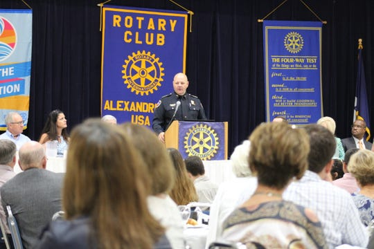 Members of the Rotary Club of Alexandria listen to State Fire Marshal Butch Browning on Tuesday, June 18, 2019.