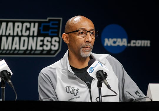 Mar 21, 2019; Columbia, SC, USA; UCF Knights head coach Johnny Dawkins during during a press conference before the first round of the 2019 NCAA Tournament at Colonial Life Arena. Mandatory Credit: Joshua S. Kelly-USA TODAY Sports