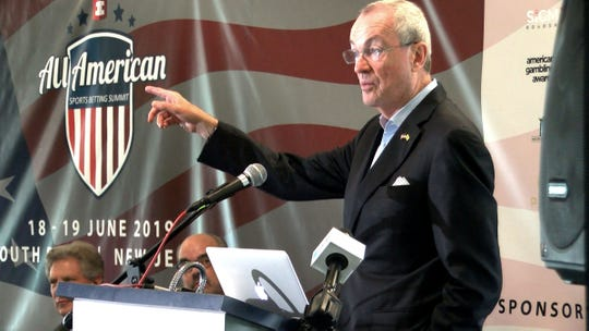 Governor Phil Murphy speaks during the All-American Sports Betting Summit at Monmouth Park in Oceanport Tuesday, June 18, 2019.