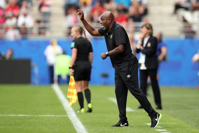 Jamaica head coach Hue Menzies gives instructions from the sidelines during Friday's Women's World Cup Group C soccer match between Italy and Jamaica at the Stade Auguste-Delaune in Reims, France. Menzies played soccer at Hardin-Simmons (1982-85), and he also coached the Abilene High boys team (1993-97).