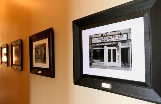Historic photos of Owego in a hallway of the Belva Lockwood Inn in Owego.  June 17, 2019.