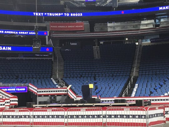 Here's a first look inside Amway Arena in Orlando Tuesday morning. President Trump will be speak June 18, 2019 and address a crowd of about 20,000, as he formally announces the start of his 2020 re-election campaign.
