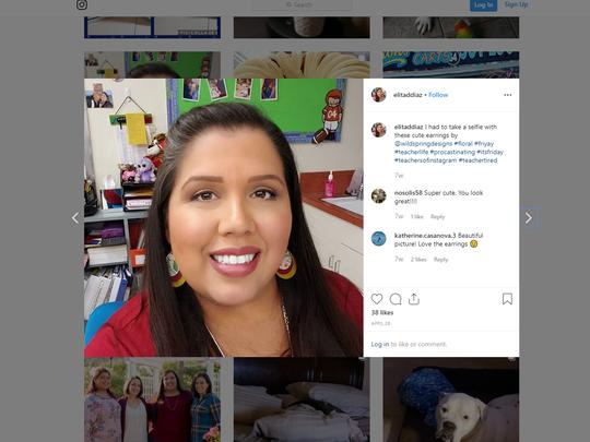 A screenshot of Elita Diaz from her Instagram