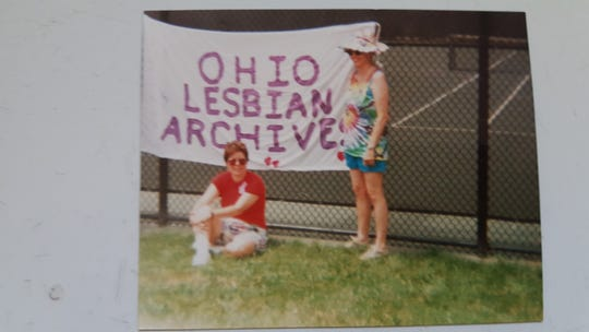 Phebe Beiser (left) and Janice Uhlman (right) at Cincinnati Pride in the mid-90s.