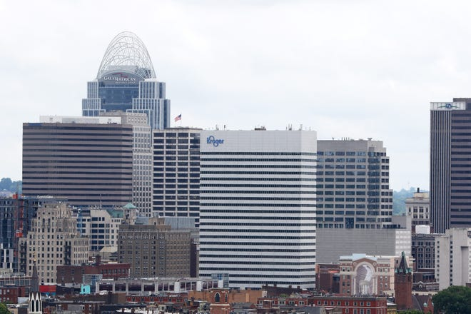 The Great American Tower at Queen City Square and the Kroger headquarters. Photo shot Tuesday June 18, 2019.