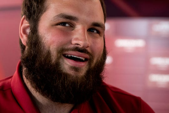 Bryce Meeker, senior offensive linemen for the Iowa State football team sits for an interview with the Des Moines Register's Randy Peterson on Monday, June 17, 2019, on the Iowa State campus in Ames.