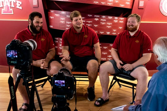 Bryce Meeker, Josh Knipfel and Collin Olson, senior offensive linemen for the Iowa State football team sit for an interview with the Des Moines Register's Randy Peterson on Monday, June 17, 2019, on the Iowa State campus in Ames.
