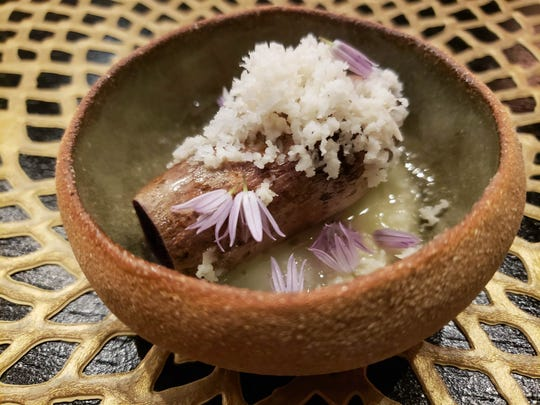 Okinawan sweet potato with smoked butter, horseradish and chive blossoms from the Pernoi preview pop-up dinner at the Chef's Table at the Detroit Foundation Hotel. Pernoi, helmed by veteran chefs Luciano DelSignore and Takashi Yagihashi, is slated to open in Birmingham later this summer.