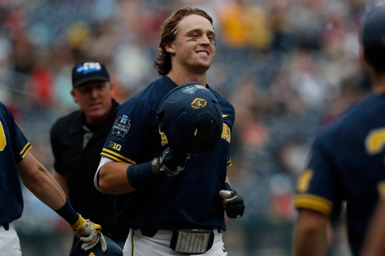 Michigan center fielder Jesse Franklin celebrates after hitting a home run In the first inning against Florida State in the 2019 College World Series in Omaha, Neb., Monday, June 17, 2019.