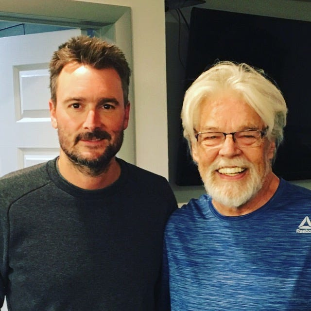 Eric Church (left) with Bob Seger backstage at DTE Energy Music Theatre on June 8, 2019.