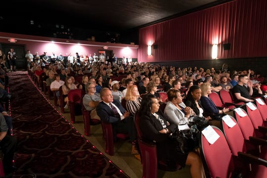 The Penn Theatre, in Plymouth, is full to capacity for a public meeting to discuss the Wayne County Mill Run Project on Wednesday.