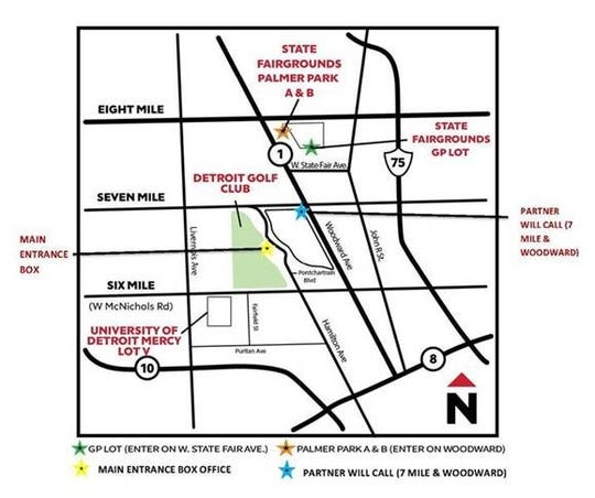 A detailed parking map for Rocket Mortgage Classic week.