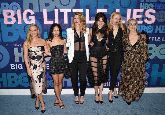 "Reese Witherspoon, from left, Zoe Kravitz, Laura Dern, Shailene Woodley, Nicole Kidman and Meryl Streep attend the premiere of HBO's ""Big Little Lies"" season two at Jazz at Lincoln Center on Wednesday, May 29, 2019, in New York."