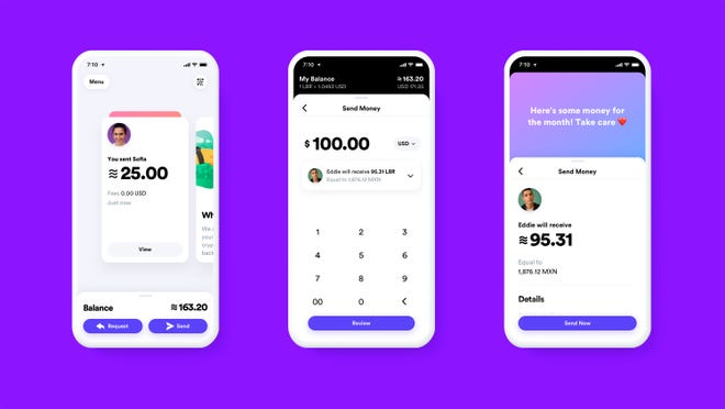 What the Calibra digital wallet app might look like. Facebook formed the Calibra subsidiary to create a new digital currency similar to Bitcoin for global use, one that could drive more e-commerce on its services and boost ads on its platforms.