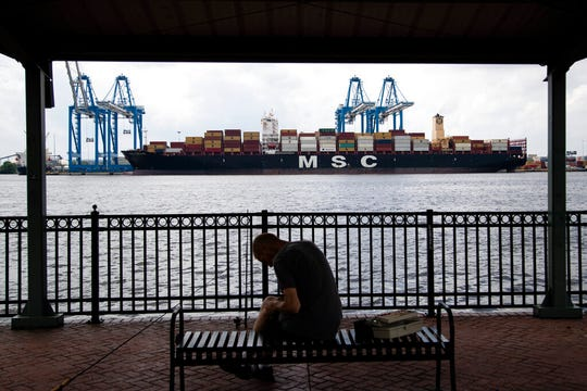 The MSC Gayane container ship is moored on the Delaware River in Philadelphia, Tuesday, June 18, 2019. The U.S. attorney's office in Philadelphia announced a massive bust on Twitter on Tuesday afternoon. Officials said agents seized about 16.5 tons (15 metric tons) of cocaine from a large ship at the Packer Marine Terminal.