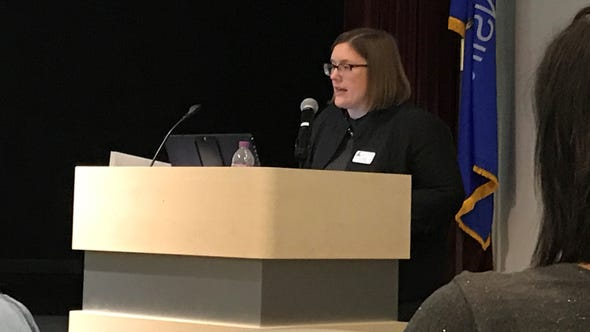 "Jodi Eastberg, executive director of the Alverno College Research Center for Women and Girls,  presents the findings of the college's ""The Status of Girls in Wisconsin."""