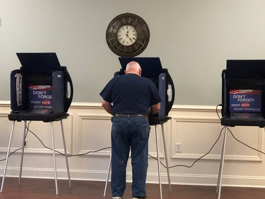 Charlie Garrett was among the voters who trickled in to the polls                                              at The Woodlands Furman Tuesday afternoon.