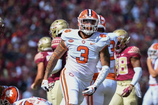 Clemson defensive lineman Xavier Thomas (3) reacts after a defensive stop against Florida State during the 1st quarter Saturday, October 27, 2018 at Florida State's Doak Campbell Stadium in Tallahassee, Fl.