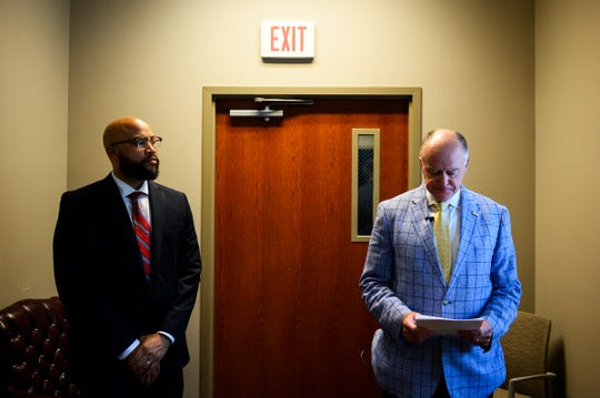 "Mauldin city administrator Brandon Madden, left, and mayor Dennis Raines give a statement regarding alleged ""inappropriate sexual activities"" within the Mauldin Police Department after an executive session meeting at Mauldin City Hall Monday, June 17, 2019."