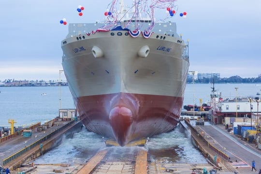Matson's newest vessel, Lurline, being launched into San Diego Bay on June, 15.