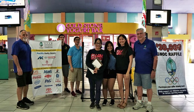 The Guam National Olympic Committee at their $30,000 grand prize raffle drawing held at the Guam Premier Outlets. The funds were raised to help support athletes in the 2019 Pacific Games, ANOC World Beach Games and other sporting events. Pictured from left: Roger Wahl, Michael Kohn, Joey Miranda, Sherrie Sampson, Luisa Sampson, Kristin Fausto and Robert Steffy.