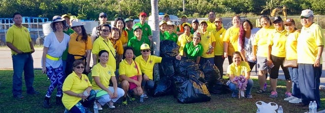 Lions Clubs International District 204 held an environmental cleanup along Airport Road along with nine Lions Clubs on May 26. Guamerica Lions Club; Guam Tano-Ta Lions Club; Guam Isan Famaguon Lions Club; Guam Platinum Lions Club; Guam Stars Lions Club; Guam Spirit Lions Club; Guam Galaide Lions Club; Guam Diamond Lions Club and Guam Guahan Lions Club took part. The group was also joined by two volunteers from AFB Squadron 36 LRS - Steven Foesri and Neli Foesrl.  Lion Danny Cruz, LCI District Governor, led the group in the early morning environmental project.