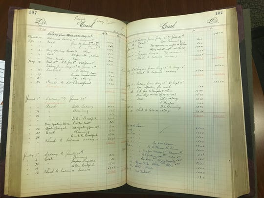 An accounting ledger from the Birmingham Black Barons Negro League baseball team is part of the Joyce Sports Research Collection at Notre Dame