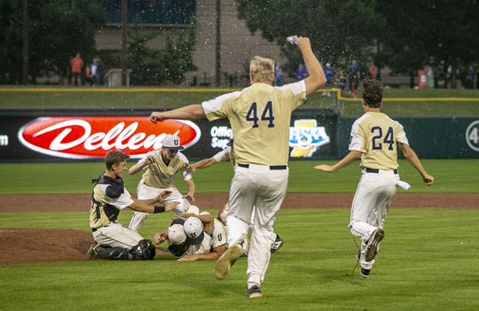 University High School celebrates winning Class A IHSAA baseball state championship defeating Washington Township at Victory Field, Sunday, June 17, 2019, Indianapolis,
