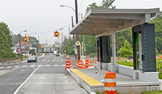 This is one of the new IndyGo Red Line curbside stops that is close to completion, Monday, June 17, 2019.