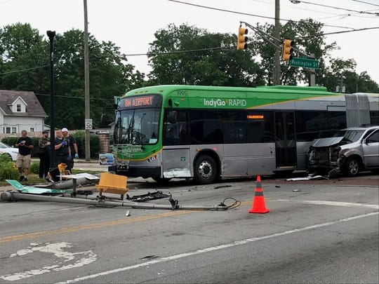An IndyGo bus was hit by an SUV Tuesday, June 18 at the intersection of Washington Street and Ritter Avenue.