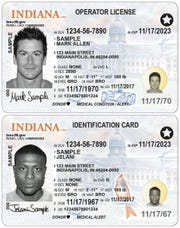Samples of newly redesigned Indiana driver's licenses and ID cards, which will be available at Indiana Bureau of Motor Vehicles locations in mid-July.