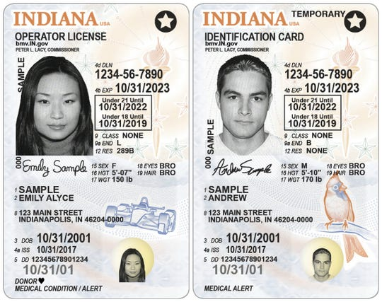 Samples of newly redesigned Indiana driver's licenses and ID cards, which will be available at Indiana Bureau of Motor Vehicles locations in mid-July 2019