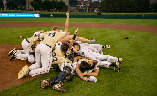 University High School celebrates winning Class A IHSAA baseball state championship defeating Washington Township at Victory Field, Monday, June 17, 2019, Indianapolis,