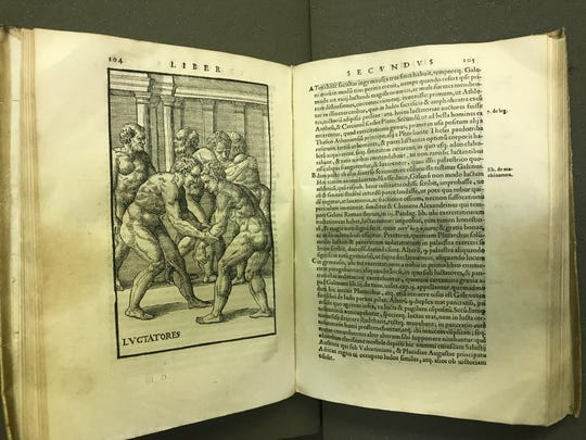 """""""De arte gymnastica,"""" a 16th-century book by Italian physician Girolamo Mercuriale, is part of the Joyce Sports Research Collection at Notre Dame"""