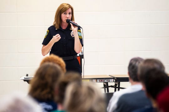 Iowa City Police Captain Denise Brotherton speaks during a neighborhood meeting  hosted by the Iowa City Police Department, Monday, June 17, 2019, at Mercer Aquatic Center in Iowa City, Iowa.