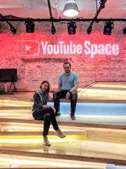 María Jaramillo and Cody Beeler of WhyNotSpanish at YouTube's NextUp Latino creative camp.