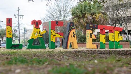 Lafayette Sign in downtown  Lafayette, LA.