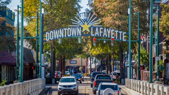 Downtown Lafayette welcome sign on Jefferson Street.