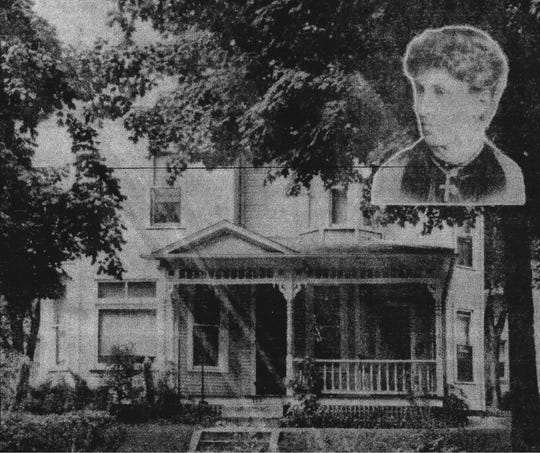 Mrs. Alma Busby (insert) is shown with her home that was located at 225 N. High St. This photo appeared in the E-G on Sept. 1, 1937.