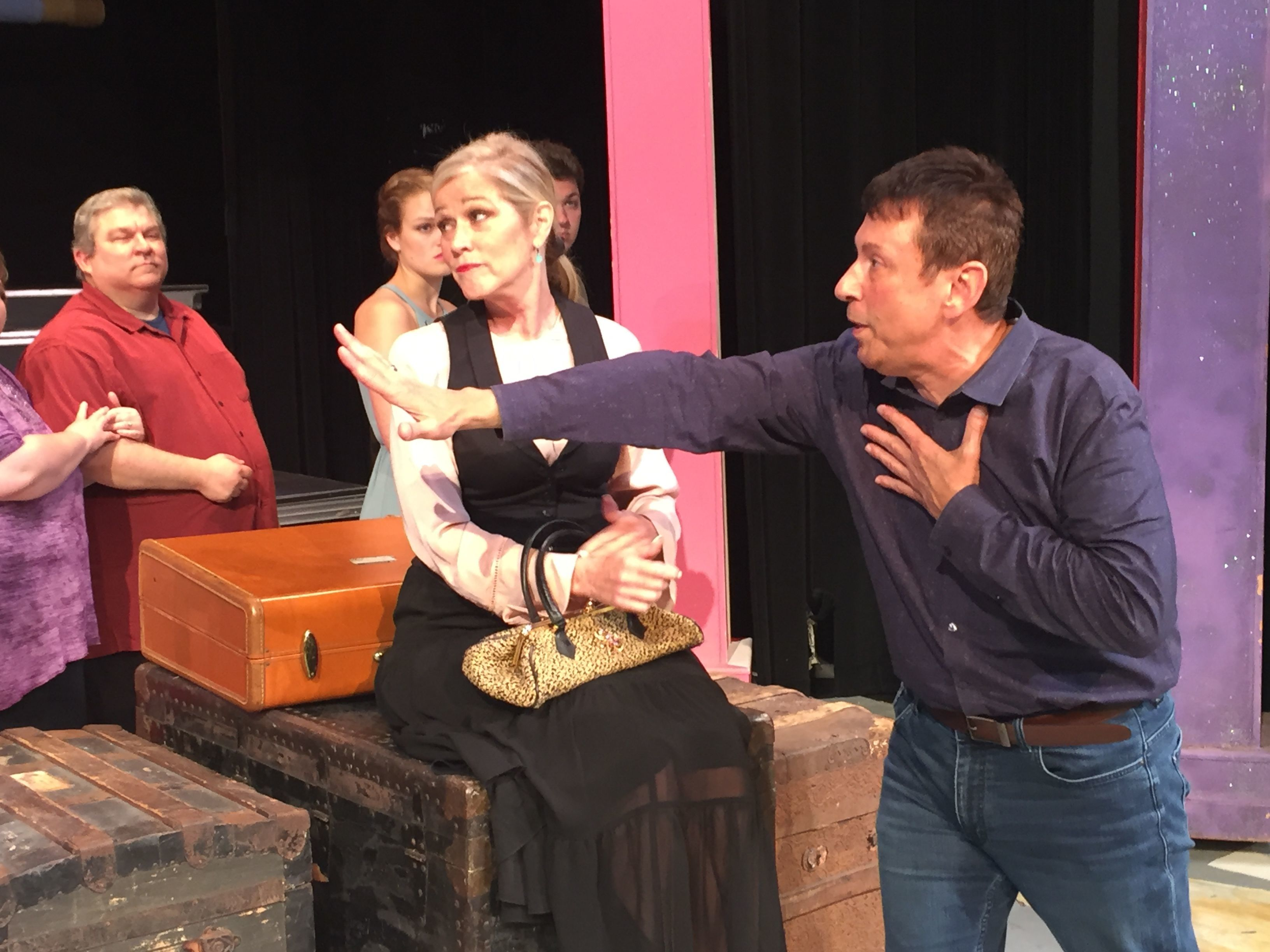 "Victor Jones, right, directs actors during a rehearsal of ""Hell, Dolly!"" in this 2018 file photograph."
