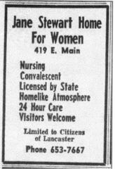 This ad for the Jane Stewart Home for Women appeared in the E-G on Jan. 4, 1966.