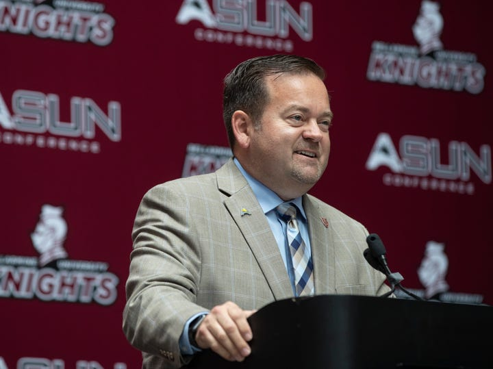 Bellarmine athletic director, Scott Wiegandt, speaks during the announcement of Bellarmine University's transition to division 1 in the ASUN conference. June 18, 2019