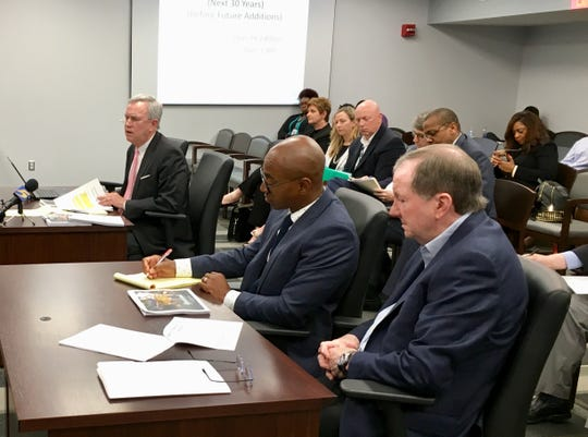 Representatives of Elvis Presley Enterprises addressed the Memphis City Council on Tuesday, June 18, 2019. They are attorney James McLaren (left, background), attorney Clarence Wilbon (middle) and EPE CEO Jack Soden (right, foreground.)
