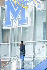Malcolm Dandridge talks on the phone at the Laurie-Walton Family Basketball Center, June 18, 2019.