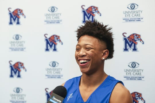 Boogie Ellis talks with the media at the Laurie-Walton Family Basketball Center, June 18, 2019.
