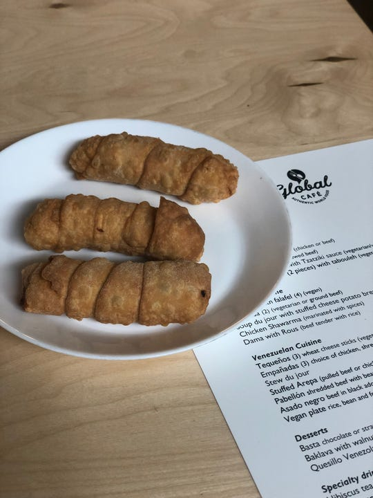 Tequenos are a Venezuelan treat that is popular at festivals.  Pancho Leon, the new chef at The Global Cafe, will be serving these pastry-wrapped cheese sticks on his menu.