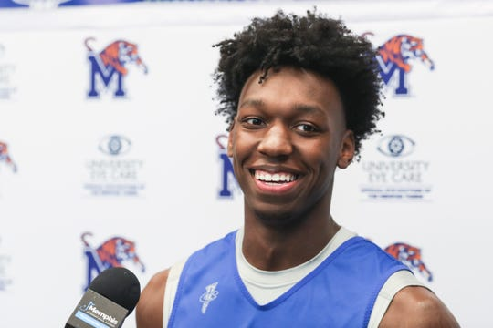 James Wiseman talks with the media at the Laurie-Walton Family Basketball Center, June 18, 2019.