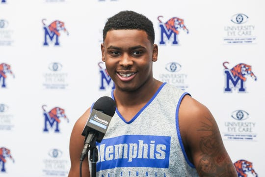 D.J. Jeffries talks with the media at the Laurie-Walton Family Basketball Center, June 18, 2019.